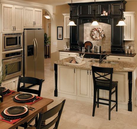 Kitchen: Cream and Black Contrast